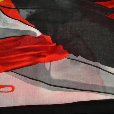 Šála klasická - červeno-černá s potiskem - 2