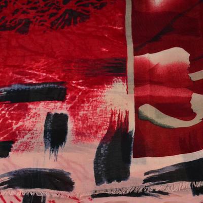 Šála klasická - červenorůžová s potiskem - 2
