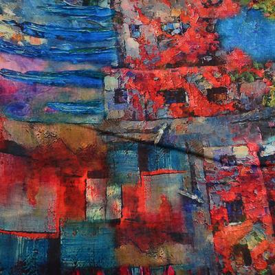 Šála klasická - modro-červená s potiskem - 2