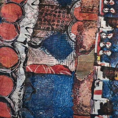 Šála klasická - modro-oranžová s potiskem - 2