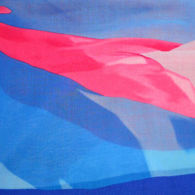 Šála klasická - modro-růžová s potiskem - 2