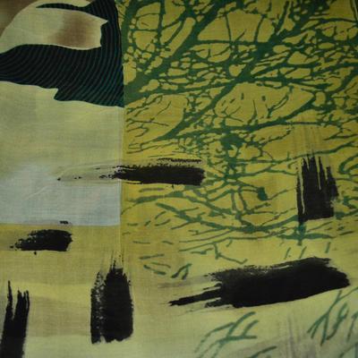 Šála klasická - zelená s potiskem - 2