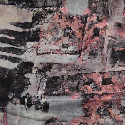 Šála klasická - šedo-růžová s potiskem - 2