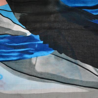 Šála klasická - šedo-modrá s potiskem - 2