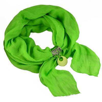 Přívěsek na šálu up100-51.01a - pruhovaný zelený kroužek - 2
