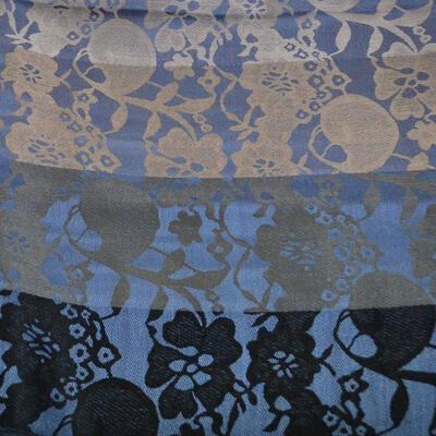 Šála teplá - modro-šedá s potiskem - 2