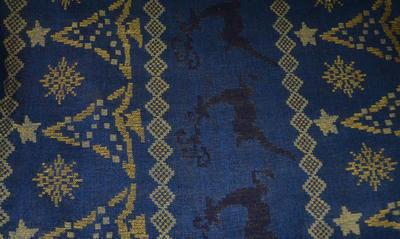 Šála teplá - modrá norský vzor - 2
