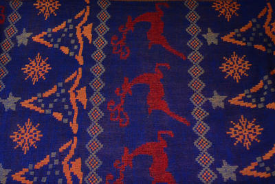 Šála teplá - fialovočervená norský vzor - 2
