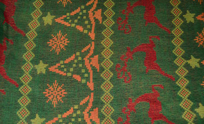 Šála teplá - zelenočervená norský vzor - 2