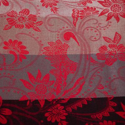 Šála teplá oboustranná - šedo-červená s potiskem - 2