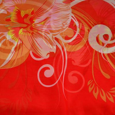 Šála vzdušná - červenobílá s květy - 2