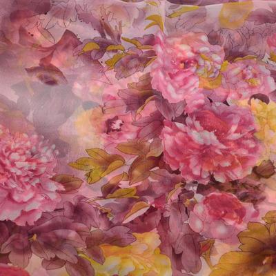 Šála vzdušná - růžová s květy - 2