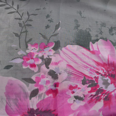 Šála vzdušná - šedorůžová s květy - 2