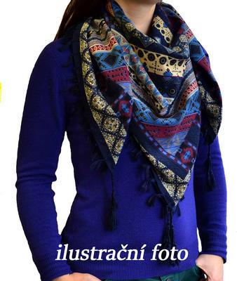Maxi šátek - modrorůžový se vzorem - 2