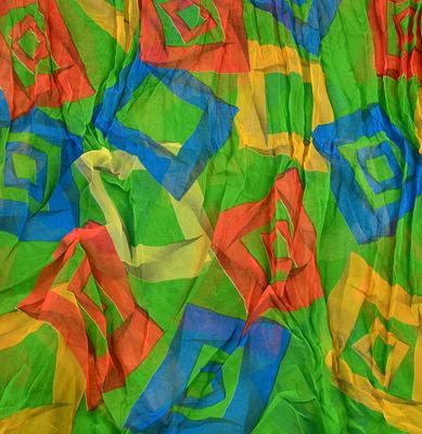 Tunelová letní šála 69tl006-50.02 - zelená s geometrickým potiskem - 2