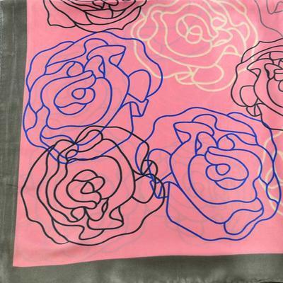 Šátek saténový 63sk004-23.30 - růžový s modrými kytičkami - 2