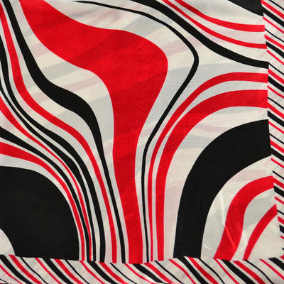 Šátek saténový - bíločervené pruhy - 2
