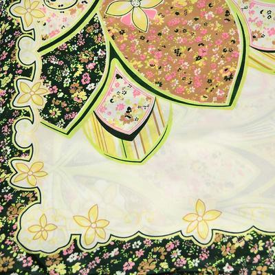 Šátek saténový 63sk004-01.50 - zelený s květinovým vzorem - 2