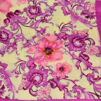 Šátek saténový 63sk004-14.25 - béžovorůžový, porcelánové květiny - 2