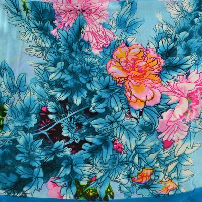 Šátek saténový 63sk004-32.23 - tyrkysový s akvarelovými květinami - 2