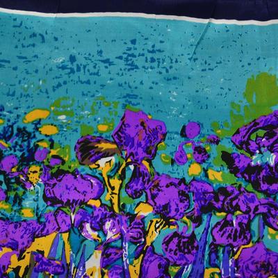 Šátek saténový 63sk004-32.33 - tyrkysový s fialovými květinami - 2