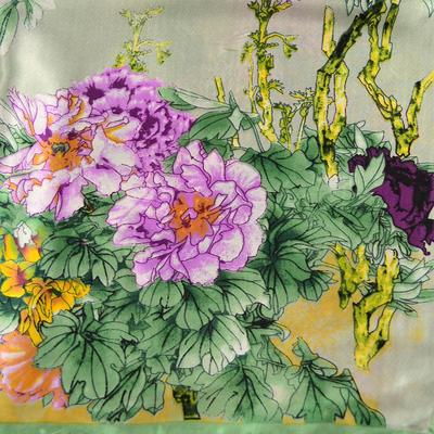 Šátek saténový 63sk004-51.23 - zelený s akvarelovými květinami - 2