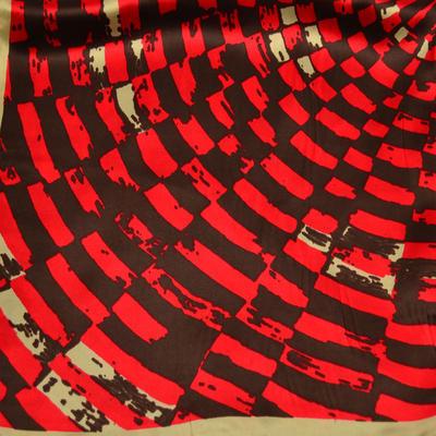 Šátek saténový 63sk009-20.40 - červenohnědý potisk - 2