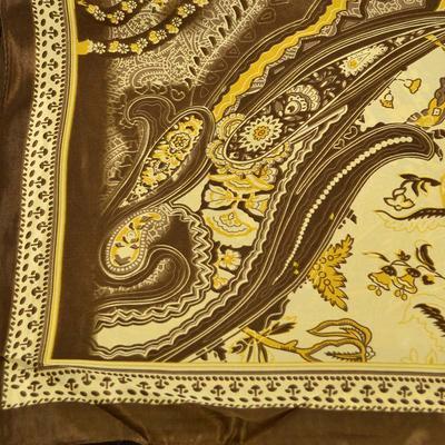 Šátek saténový 63sk010-40 - hnědý, paisley - 2