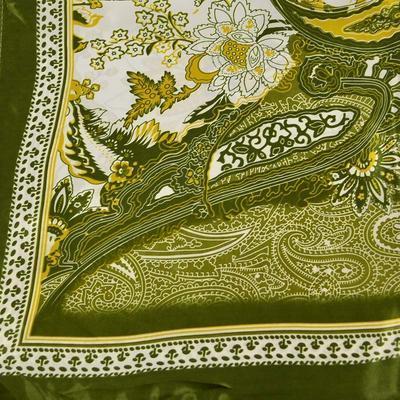 Šátek saténový 63sk010-53.01 - myslivecká zelená, paisley - 2