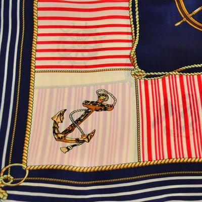 Šátek saténový - modrobílý námořnický - 2