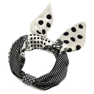 Šátek s bižuterií Letuška 299let009-01.30 - černobílý - 2
