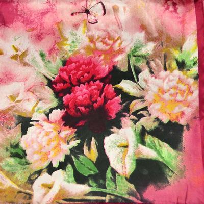Šátek saténový 63sk004-22 - vínová s akvarelovými květy - 2