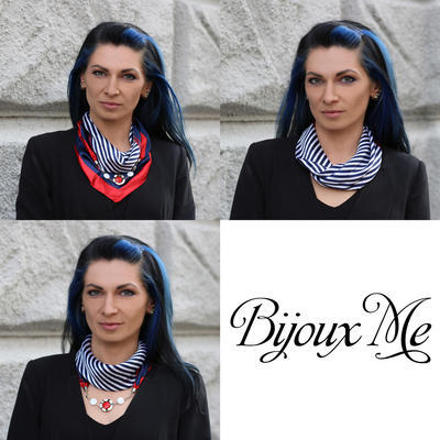 Šátek s bižuterií Stella - modrooranžový - 2