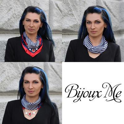 Šátek s bižuterií Stella - modročervený - 2