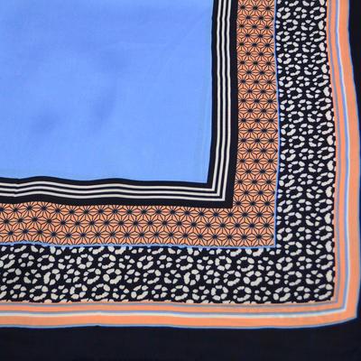 Šátek - modrokorálový s potiskem - 2