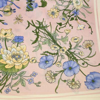 Šátek - růžovo-modrý s květy - 2