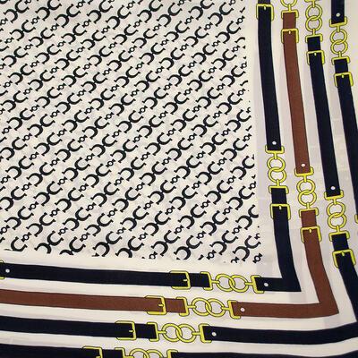 Šátek - bílo-modrý s potiskem - 2