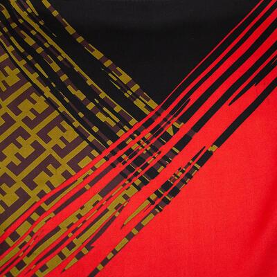 Šátek - červeno-černý s potiskem - 2