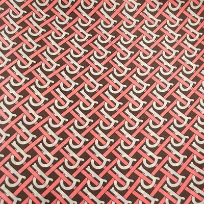 Šátek - hnědo-růžový s potiskem - 2