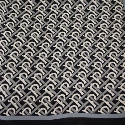 Šátek - černo-bílý s potiskem - 2