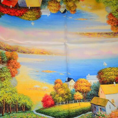 Šátek hebký - barevný s potiskem - 2