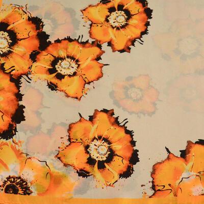 Šátek hebký - béžovo-oranžový s květy - 2