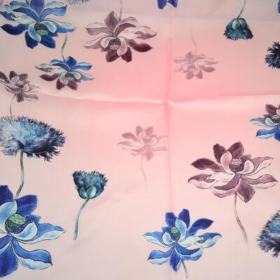 Šátek hebký - růžovo-modrý s květy - 2
