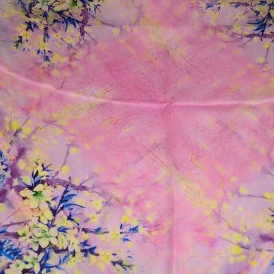 Šátek hebký - růžový s potiskem - 2