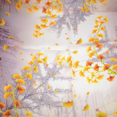 Šátek hebký - hnědo-zlatý s potiskem - 2