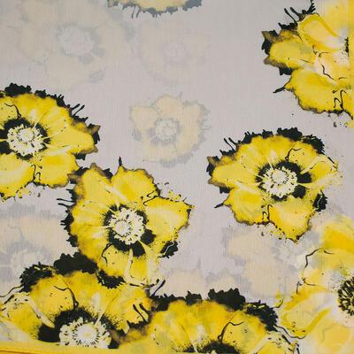 Šátek hebký - šedo-žlutý s květy - 2