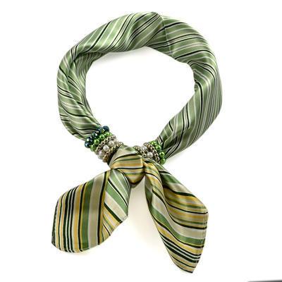Šátek s bižuterií Letuška 299let003-51a - zelený pruhovaný - 2
