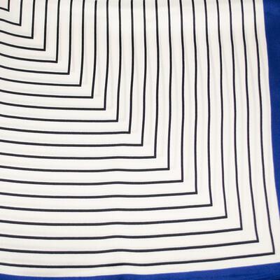 Šátek saténový - bílo-modrý s pruhy - 2