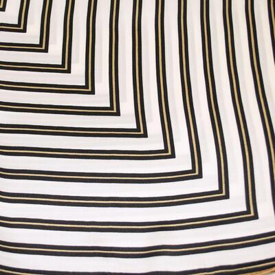 Šátek saténový - bílo-hnědý s pruhy - 2