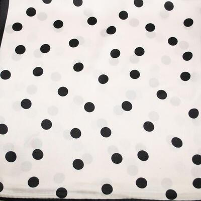 Šátek saténový - bílo-černé puntíky - 2